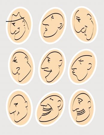 peacefulness: emotions  set of nine vector sketches illustrating various human emotions