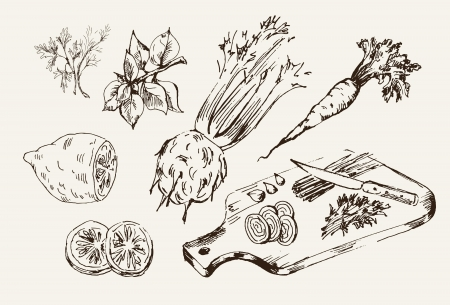 ingredients for cooking  vector sketch on a gray background 矢量图像