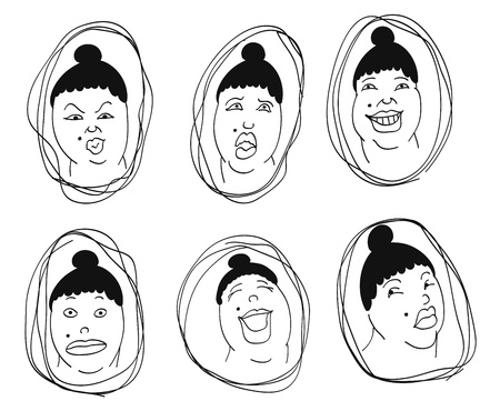 wonderment: emotions  set of nine sketches illustrating various human emotions Illustration