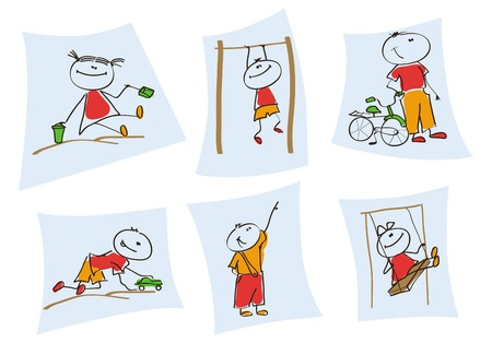 children playing with toys: children playing  a set of six  illustrations of children depicted in the game process Illustration