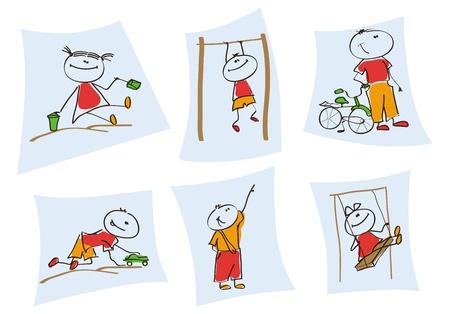 kinderen spelen een set van zes voorbeelden van kinderen afgebeeld in het spel te Vector Illustratie