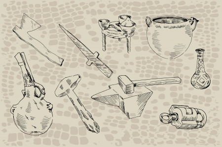 archaeological: archaeological finds  set of nine objects found during archaeological excavations