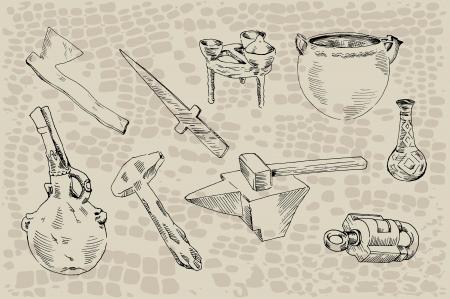 archaeological: hallazgos arqueol�gicos conjunto de nueve objetos encontrados durante las excavaciones arqueol�gicas