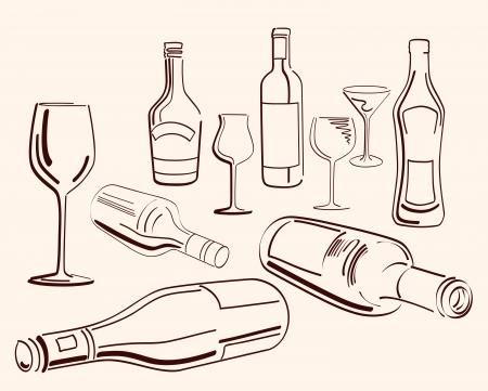 goblets and bottles  set of ten vector elements