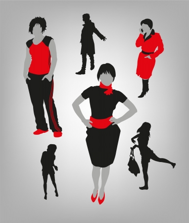 glamur: image of silhouettes of women in different situations Illustration
