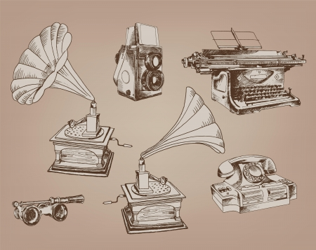 old typewriter: subjects of olden  a set of six vintage vector elements