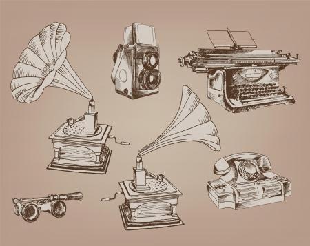 the typewriter: temas antiguos de una serie de seis elementos del vector vendimia