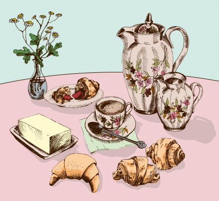 still Life with croissants coffee service Vector