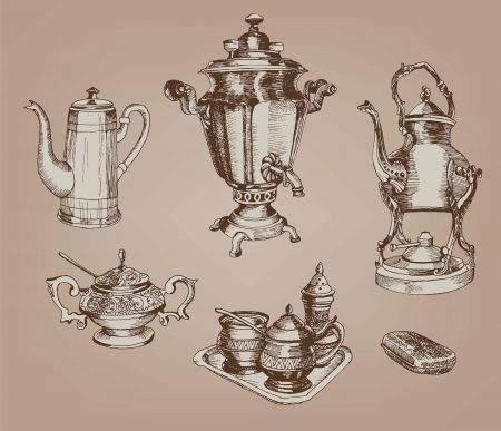 burners: old devices for tea set of vintage sketches