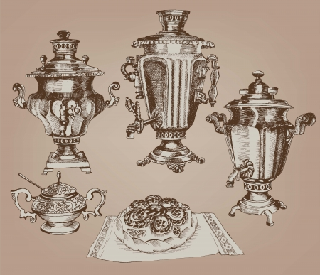 samovar - a symbol of Russian culture set of vintage sketches