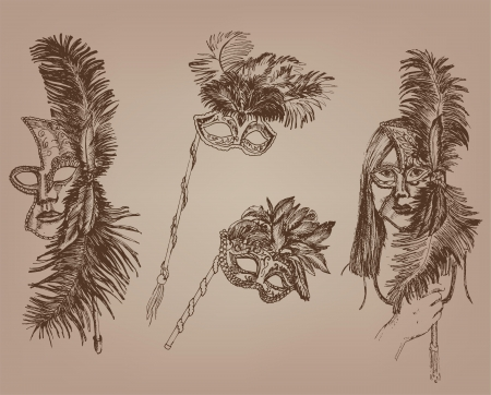 masquerade masks  collection of vector designs on gray background