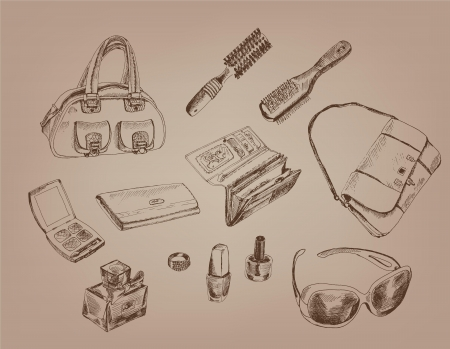 women s accessories  collection of designs on gray background Vector