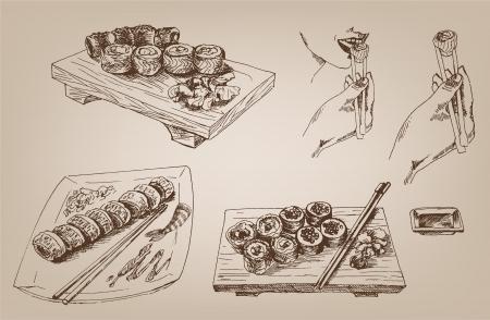 디자인의 초밥 컬렉션 일러스트