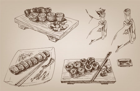 japanese cuisine: sushi collection of designs Illustration