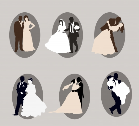 marriage proposal: newlyweds  a set of six elements Illustration