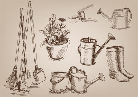 회색 배경에 벡터 디자인의 정원 도구 모음