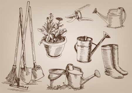 garden tools  collection of vector designs on gray background Vector