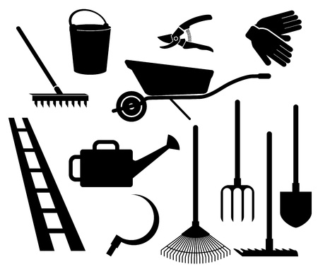 besom: garden tools  collection of icons on white background Illustration
