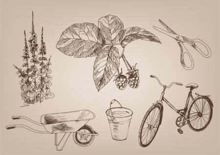 gardening  a set of six vector elements Vector