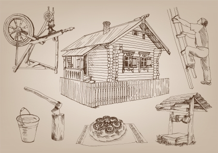 originalidad: atributos de madera choza de la aldea rusa