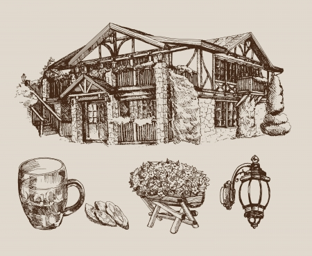 alehouse: beer house Illustration