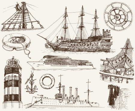 set of sketches on the theme of navigation