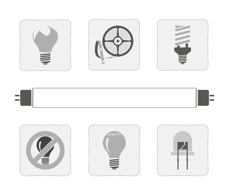 fluorescent: light sources  a set of seven icons