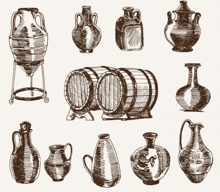 alfarero: lanzadores y dos barriles de vino
