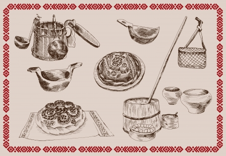 compilation vector illustration Old Russian life Stock Vector - 17967547