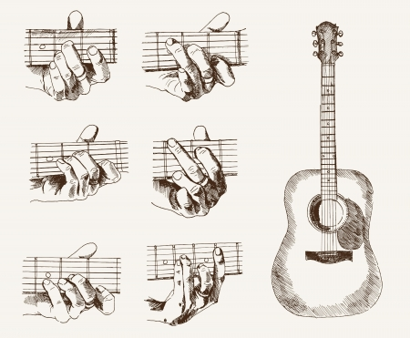 guitar and chords Vector