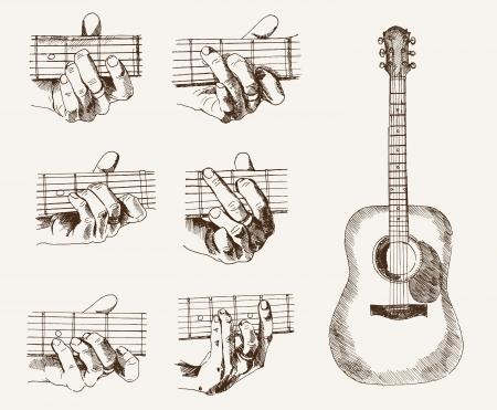 guitarra acustica: guitarra y acordes Vectores