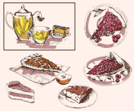 gateau: tea party Illustration