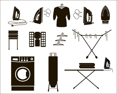 steam iron: laundry  set of vector icons Illustration