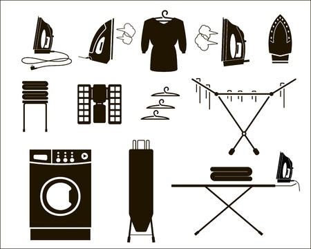 laundry hanger: set ropa de iconos vectoriales Vectores