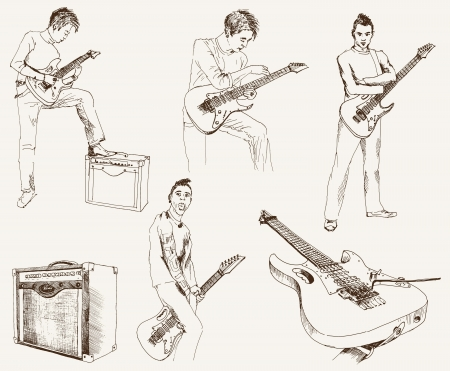 rock guitarist: rock guitarist  set of vector sketches