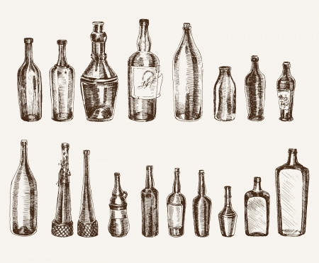 alcohol bottles: containers for beverages