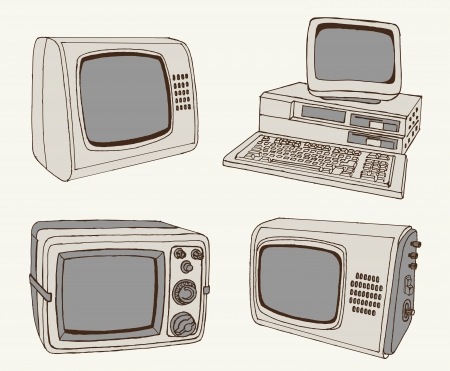 antique TV and computer  set of sketches Vector