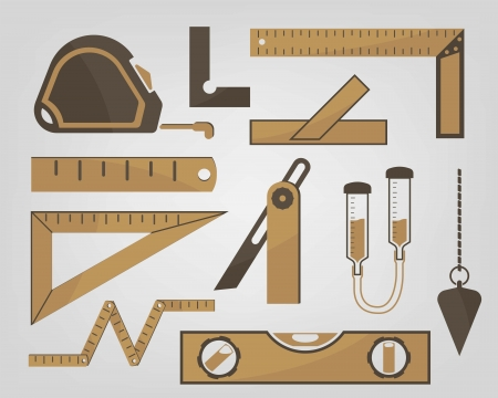 measuring instruments: icons of measuring instruments used in construction Illustration