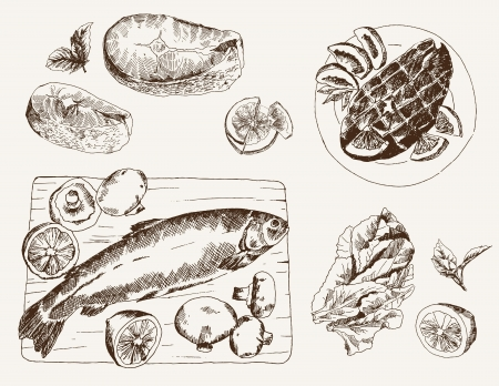 fish steak: fish dish  set of sketches