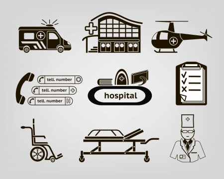 hospital bed: a set of basic icons on medicine