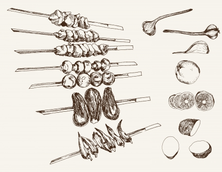 roast dinner: shish kebab on skewers. set of vector sketches