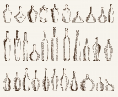 compilation of vector sketches containers for beverages