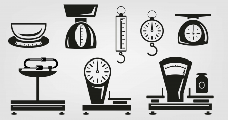 weigher: vector icons mechanical kitchen scales Illustration