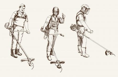 guadaña: podadora durante la operación de conjunto de dibujos vectoriales