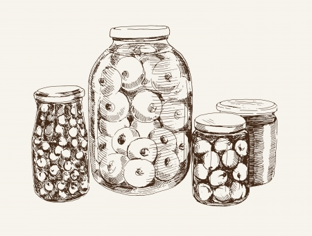 canned fruit: vector sketch of canned fruit