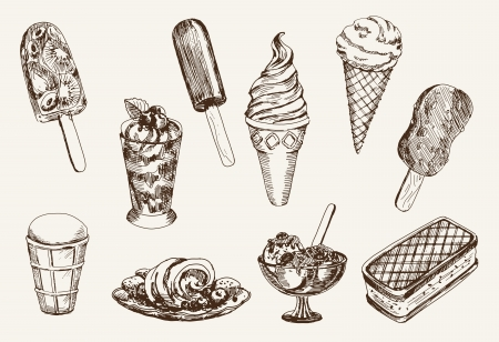 waffle ice cream: ice-cream  set of vector sketches