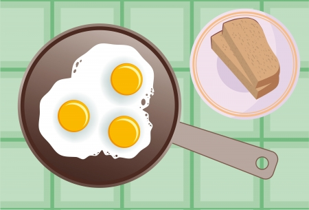 vector image of fried eggs in a frying pan Ilustração