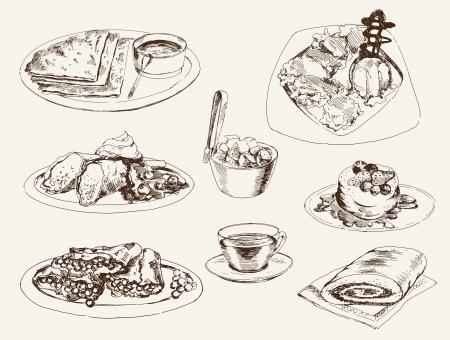 panqueques: crepes y postres conjunto de dibujos vectoriales