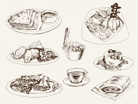 pancakes and dessert set of vector sketches