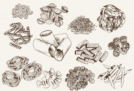 cultura italiana: Pasta serie di disegni vettoriali